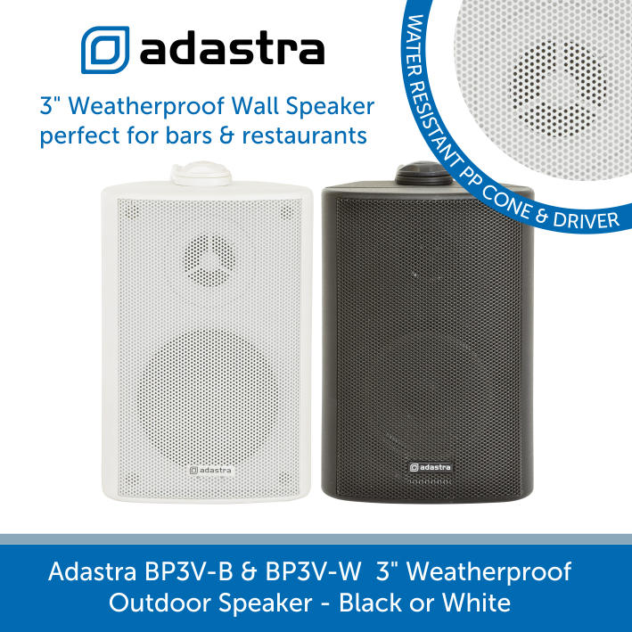 Adastra BP3V Compact Outdoor Wall Speakers for Background Music and Voice, IP54 Rated, 100V Line, Black or White