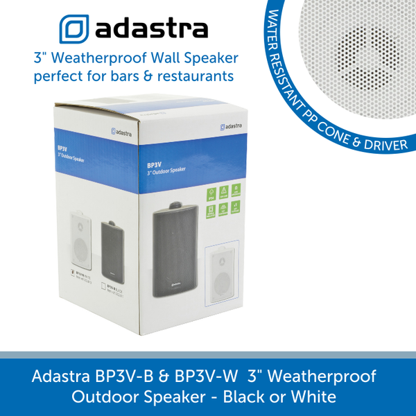 "Showing the box for a Adastra BP3V-B & BP3V-W  3"" Weatherproof Outdoor Speaker"