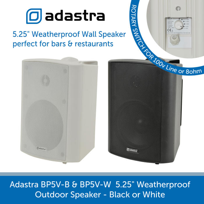 Adastra BP5V Weatherproof Outdoor Wall Speakers for Background Music and Voice, 100V Line, Black or White