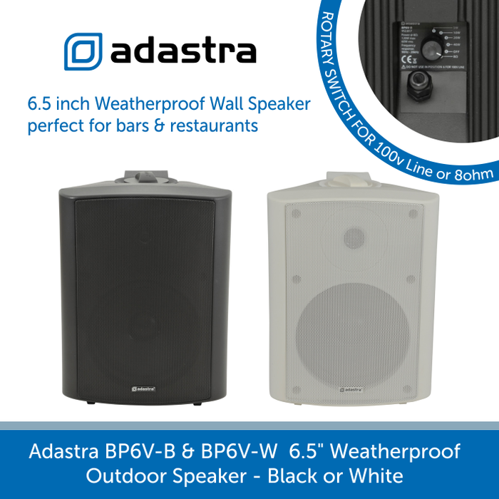 "Adastra BP6V 6.5"" Outdoor Wall Speakers, IP54 Rated, 100V Line, Black or White"