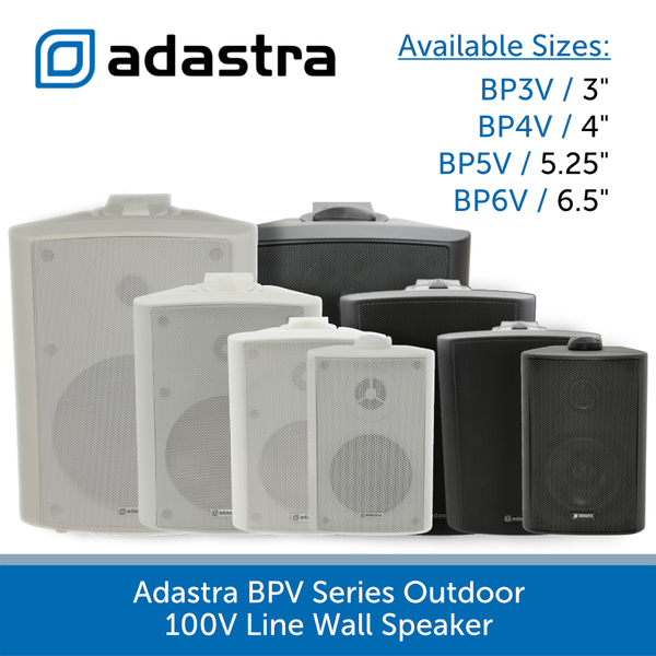 Adastra BPV Series Outdoor Wall Speaker for Background Music and Voice, 100V Line, IP54 Rated, Black or White