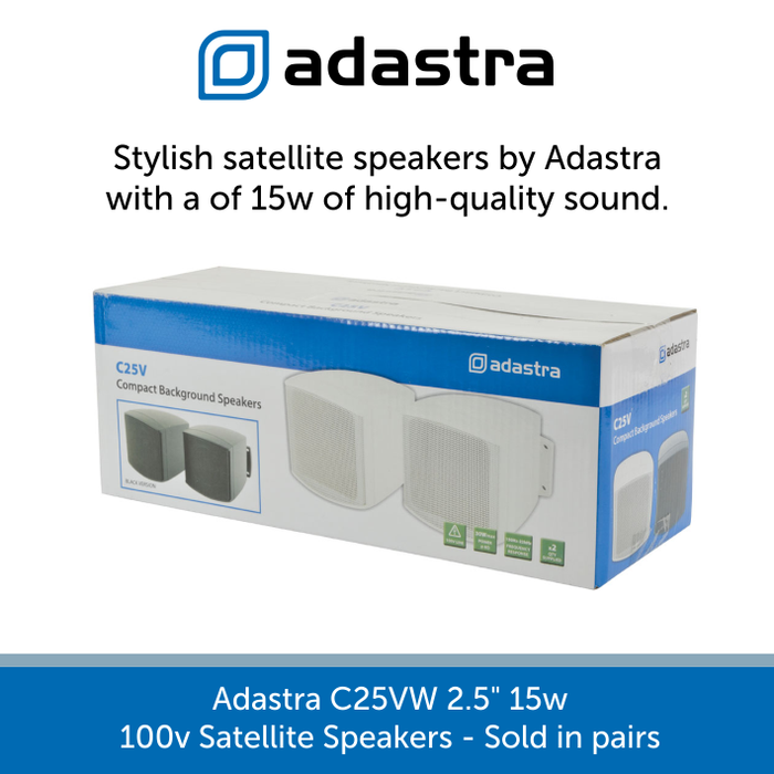 "A box for a pair of Adastra C25VW 2.5"" 15w 100v Line Satellite Speakers"
