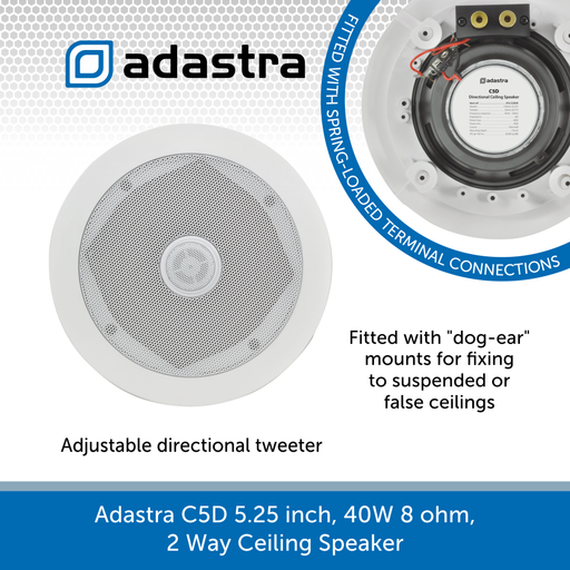Adastra C5D 5.25 inch, 40W 8 ohm, 2 Way Ceiling Speaker