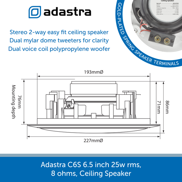 Showing the size of a Adastra C6S Ceiling Speaker