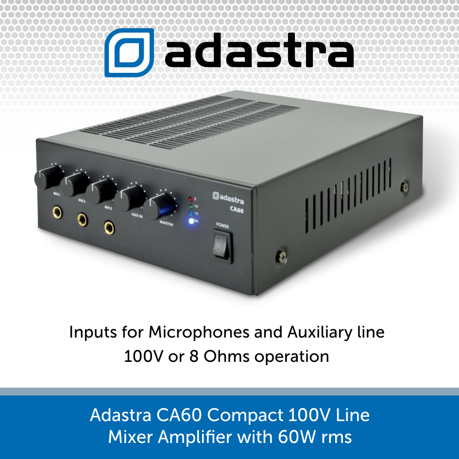 Adastra Ca60 Compact 60w Mixer Amplifier 100v 8 Ohms Audio Volt Ohm Power With Output