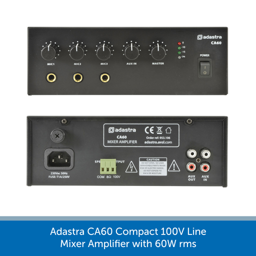 Showing the back of a Adastra CA60 Compact 100V Line Mixer Amplifier with 60W rms