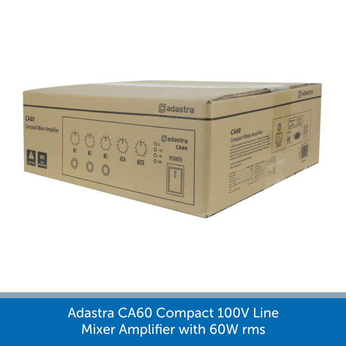 A box for a Adastra CA60 Compact 100V Line Mixer Amplifier with 60W rms