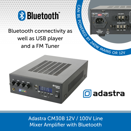 Adastra CM30B 12V / 100V Line Mixer Amplifier with Bluetooth