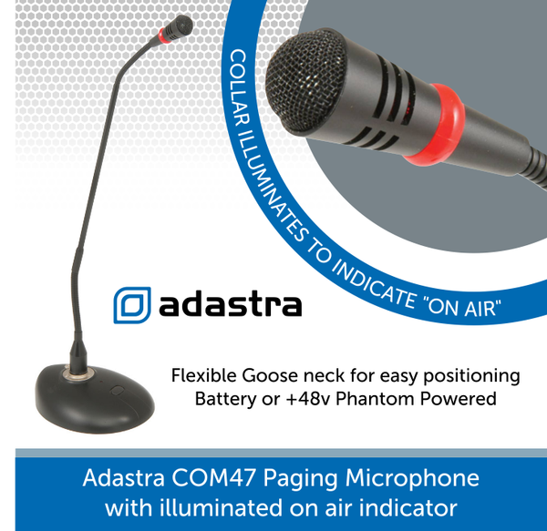 Adastra COM47 Paging Microphone with illuminated on air indicator