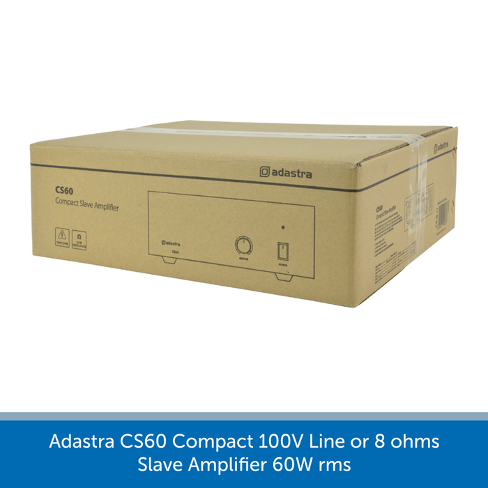 A box for a Adastra CS60 Compact 100V Line or 8 ohms Slave Amplifier 60W rms