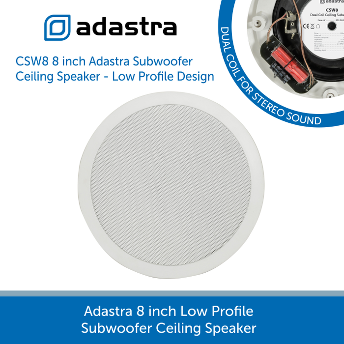 Adastra CSW8 8 inch Subwoofer Ceiling Speaker 80w total