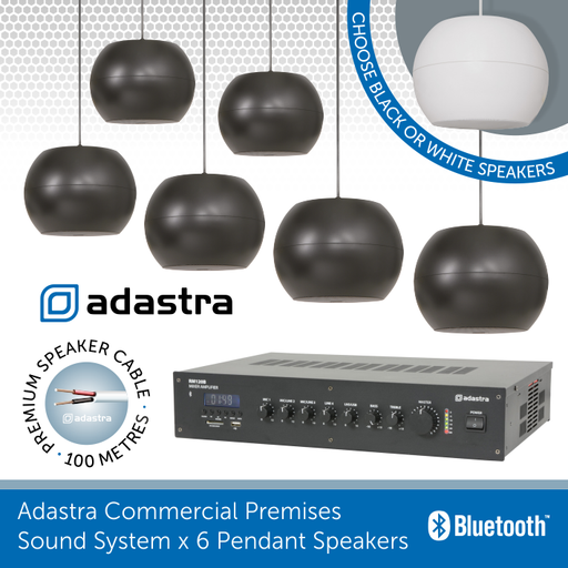 Adastra Commercial Premises 100v Line x 6 Pendant Speakers