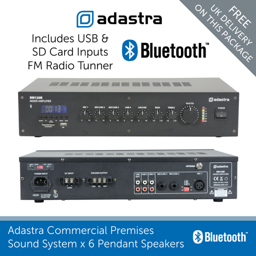 Adastra Mixer Amp includes USB and SD card Inputs