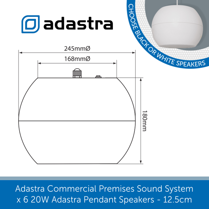 Sizes for Adastra Pendant Speakers