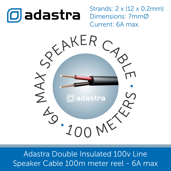 Adastra Double Insulated 100v Line Speaker Cable 100 meter reel Black 6A max