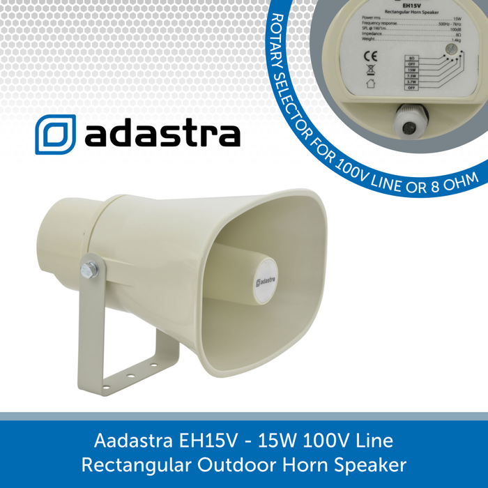 Adastra EH15V - 15W 100V Line / 8 ohm Rectangular Outdoor Horn Speaker