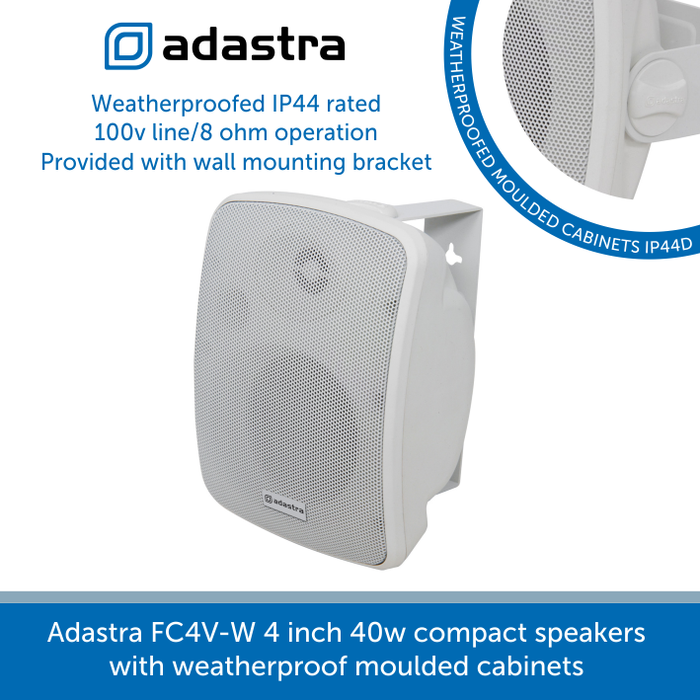 Adastra FC4V-W 4 inch 40w compact speakers with weatherproof moulded cabinets