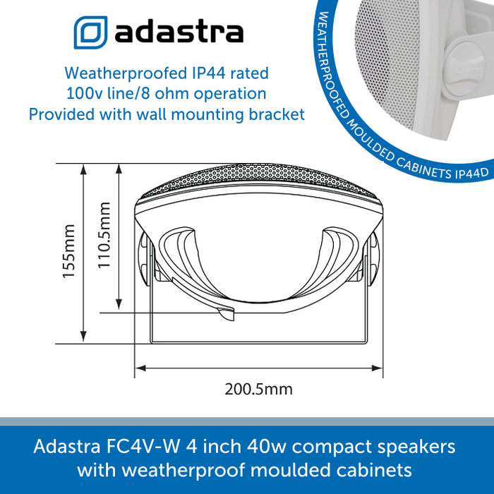 Showing the size of a Adastra FC4V-W 4 inch 40w compact speakers with weatherproof moulded cabinets