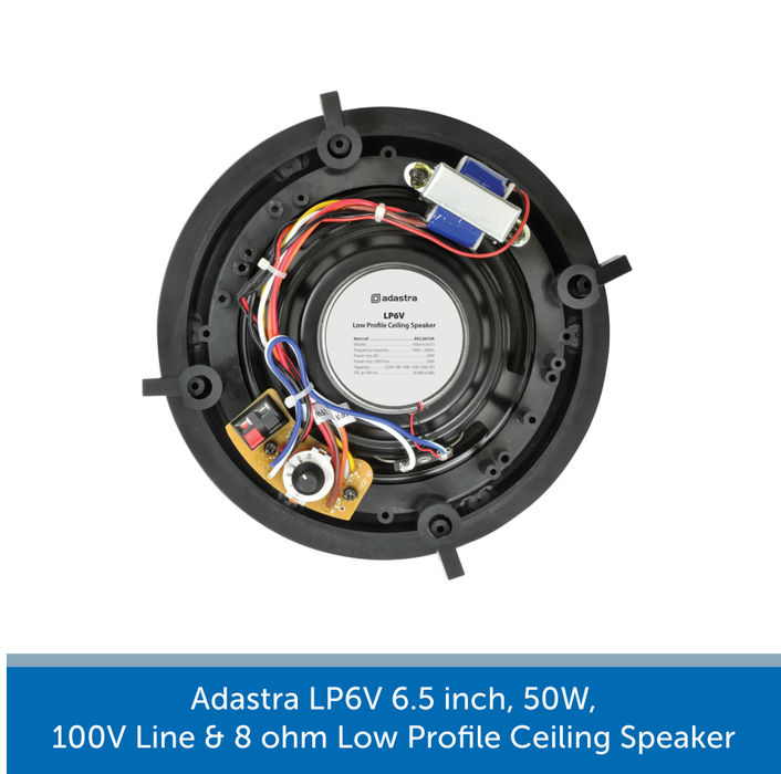 Showing the back of a Adastra LP6V 6.5 inch, 50W, 100V Line & 8 ohm Low Profile Ceiling Speaker