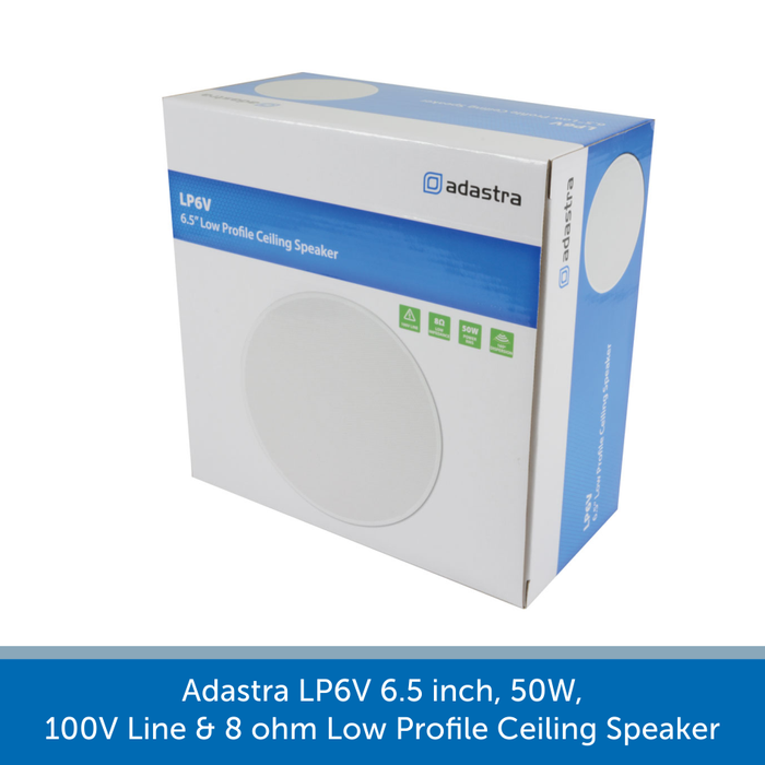 Showing a box for a Adastra LP6V 6.5 inch, 50W, 100V Line & 8 ohm Low Profile Ceiling Speaker