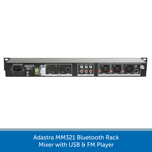 Showing the back of a Adastra MM321 Bluetooth Rack Mixer with USB & FM Player & multiple XLR / RCA inputs