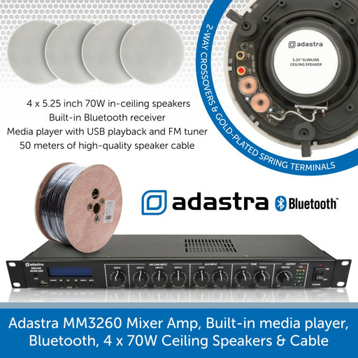Adastra MM3260 Mixer Amp, Built-in media player, Bluetooth, 4 x 70W Ceiling Speakers & Cable
