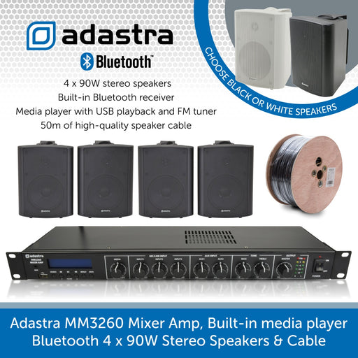 Adastra MM3260 Mixer Amplifier, Built-in media player, Bluetooth 4 x 90W Stereo Speakers & Cable