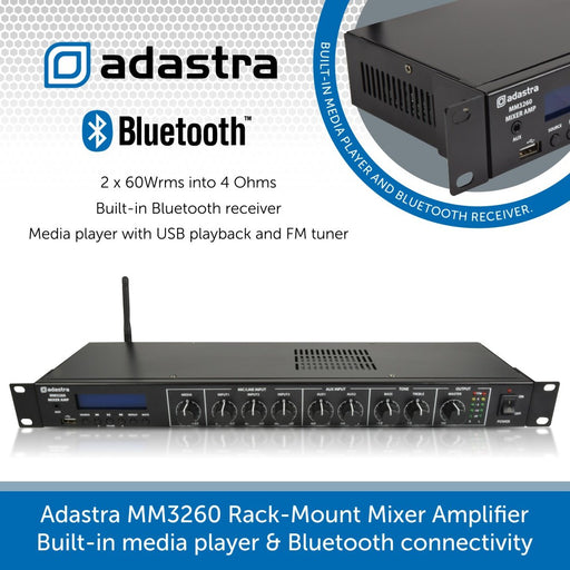 Adastra MM3260 Rack-Mount Mixer Amplifier Built-in media player & Bluetooth connectivity