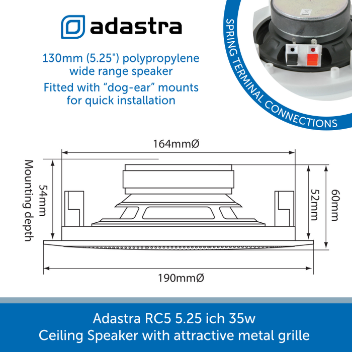 Showing the sizes for a Adastra RC5 5.25 ich 35w Ceiling Speaker