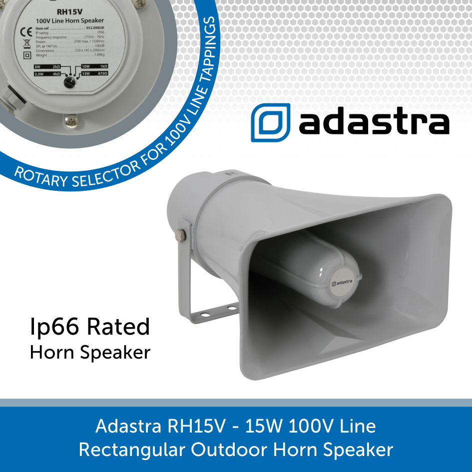 Adastra RH15V - 15W 100V Line Rectangular Outdoor Horn Speaker