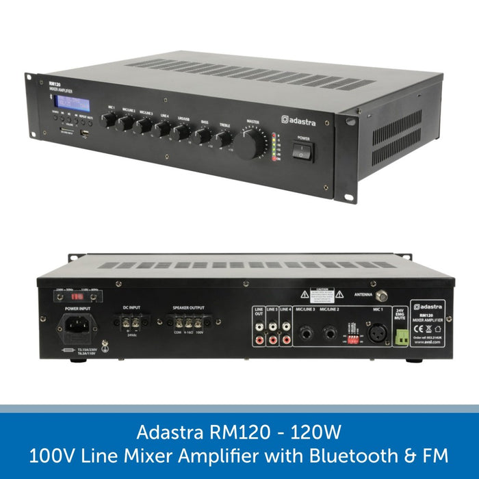 Adastra RM120 120W 100V Line Mixer Amplifier with Bluetooth & FM