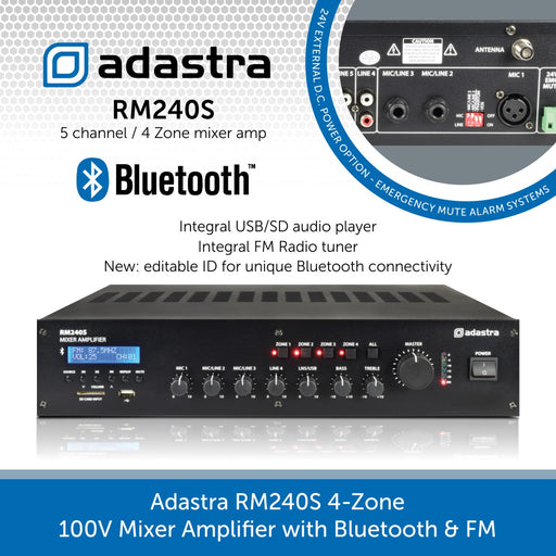 Adastra RM240S 4-Zone 100V Mixer Amplifier with Bluetooth & FM