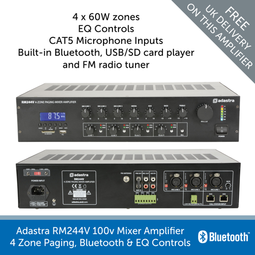 Adastra RM244V mixer amplifier with 4 zone paging front and back view