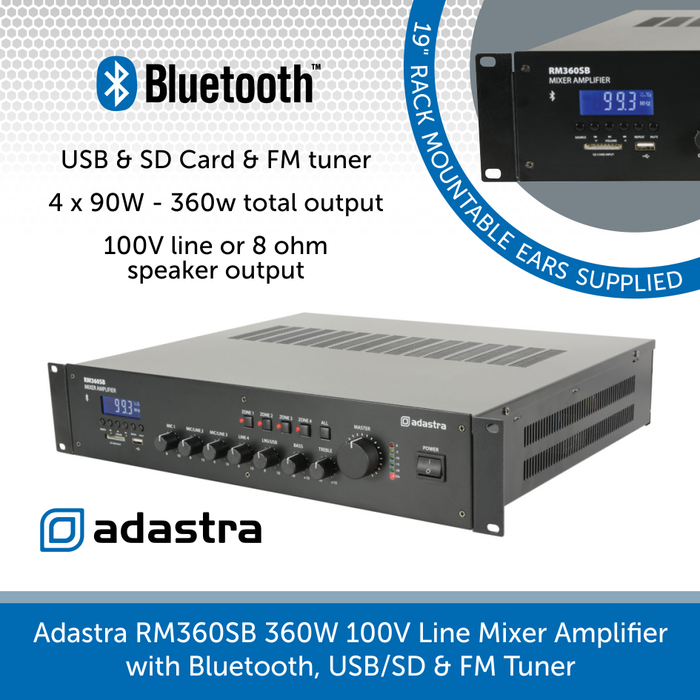 Adastra RM360SB 4 x 90W 100V Line Mixer Amplifier with Bluetooth, USB/SD & FM Tuner