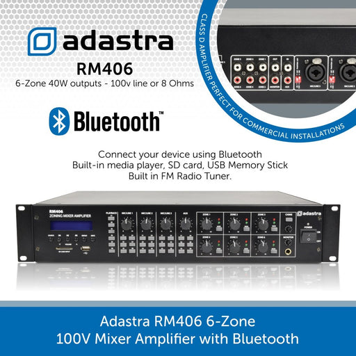 Adastra RM406 6-Zone 100V Mixer Amplifier with Bluetooth and built-in media player