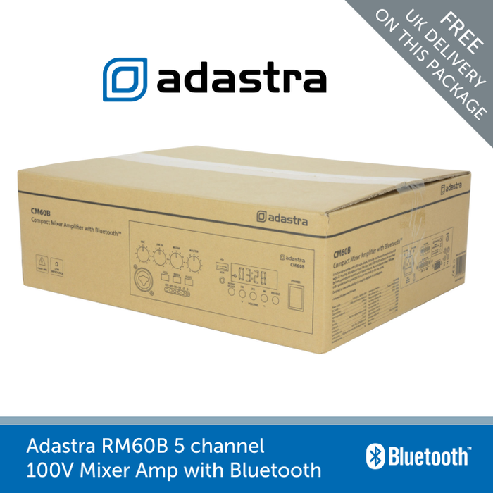 Showing a box for a Adastra RM60B 5 channel 100V Mixer Amp with Bluetooth