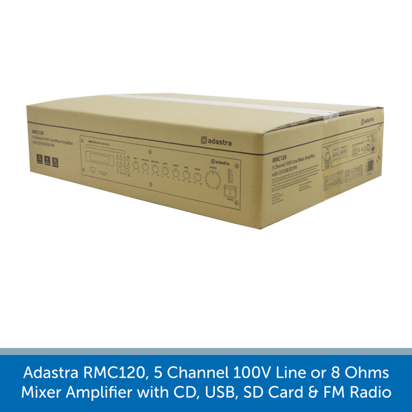 A box for a Adastra RMC120, 5 Channel 100V Line or 8 Ohms Mixer Amplifier with CD, USB, SD Card & FM Radio