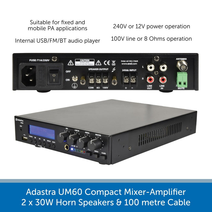 Adastra UM60 Compact Mixer-Amp, 2 x 30W Horn Speakers + Cable - FM Radio & USB Audio