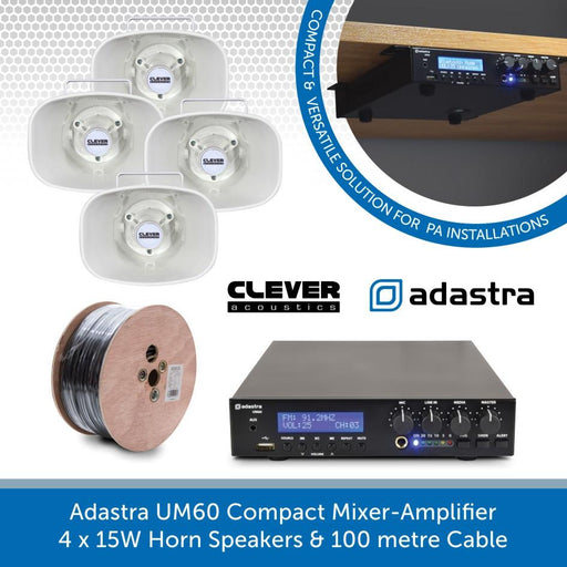 Adastra UM60 Compact Mixer-Amp, 4 x 15W Horn Speakers + Cable - FM Radio & USB Audio