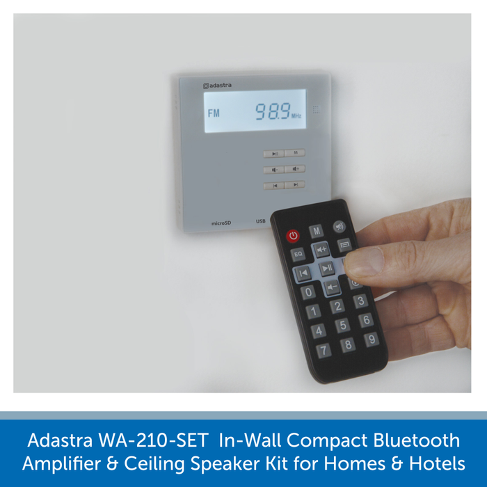 Remote control for a the Adastra WA-210-SET  In-Wall Compact Bluetooth Amplifier and Ceiling Speaker Kit for Homes and Hotels