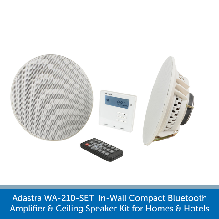 Adastra WA-210-SET In-Wall Compact Bluetooth Amplifier & Speakers for Homes and Hotels