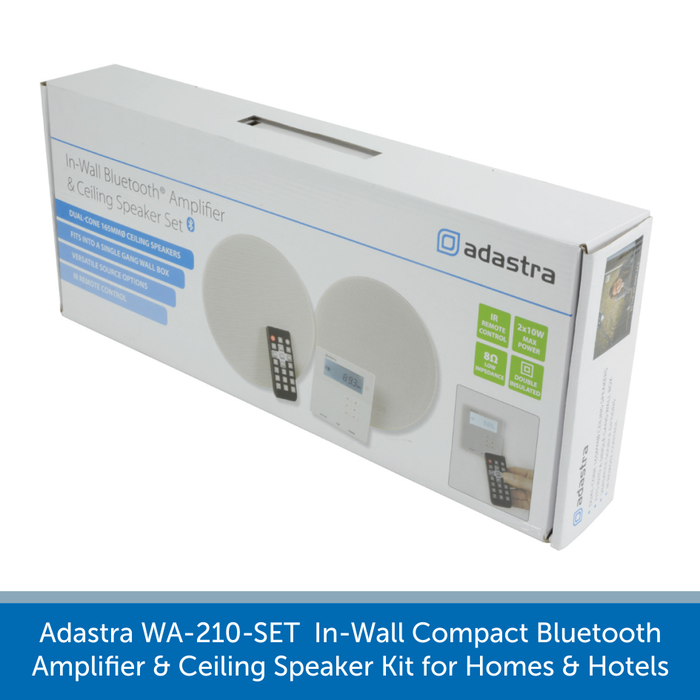 Showing a box for a Adastra WA-210-SET  In-Wall Compact Bluetooth Amplifier and Ceiling Speaker Kit for Homes and Hotels