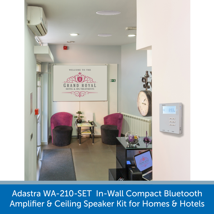 Adastra WA-210-SET  In-Wall Compact Bluetooth Amplifier and Ceiling Speaker Kit for Homes and Hotels