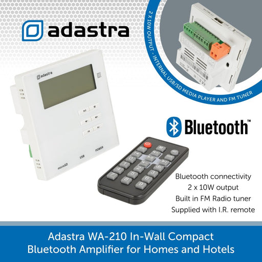 Adastra WA-210 In-Wall Compact Bluetooth Amplifier for Homes and Hotels