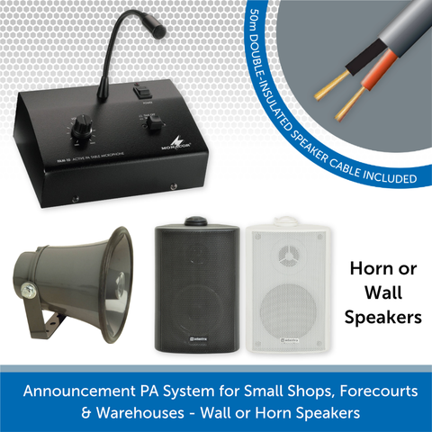 Announcement PA System for Small Shops, Forecourts & Warehouses - Wall or Horn Speakers
