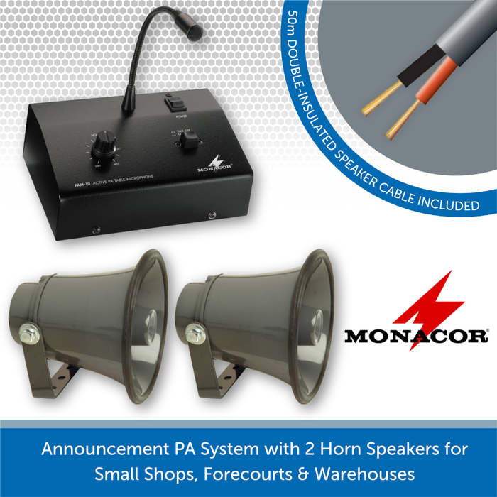 Announcement PA System for Small Shops, Forecourts & Warehouses - Horn Speakers