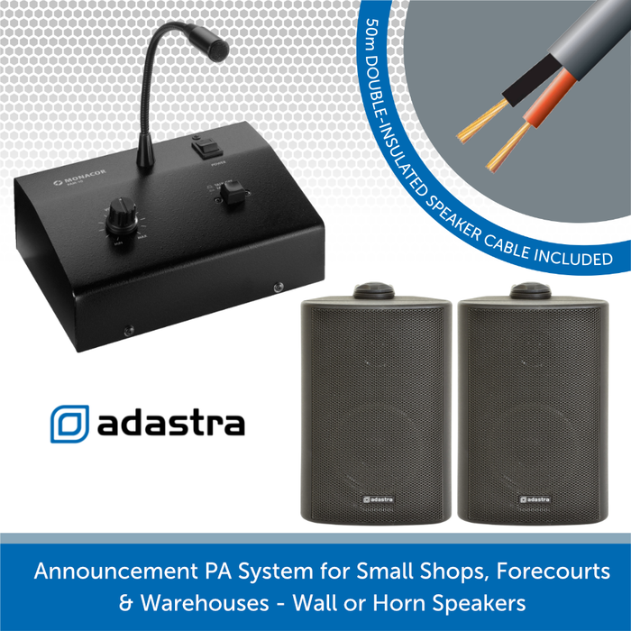 Announcement PA System for Small Shops, Forecourts & Warehouses - Black Wall Speakers
