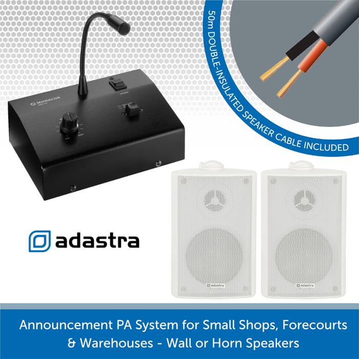 Announcement PA System for Small Shops, Forecourts & Warehouses - White Wall Speakers