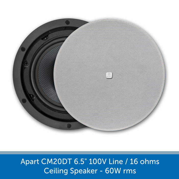 "Apart CM20DT 6.5"" 100V Line / 16 ohms Background Music System Ceiling Speaker - 60W rms"