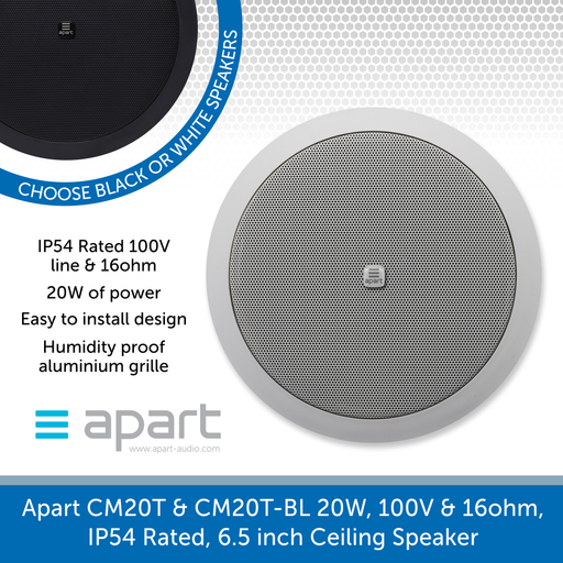 Apart Audio CM20T & CM20T-BL 20W, 100V & 16ohm, IP54 Rated, 6.5 inch Ceiling Speaker - Water Resistant